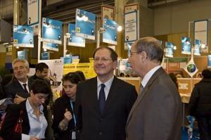 Hervé Novelli, secretaire d'Etat chargé des PME et Alain Bosetti, Président du salon